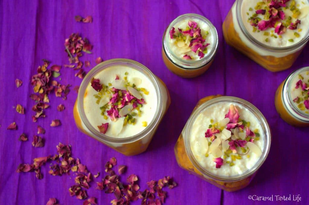 Diwali Dessert Jars on a purple surface