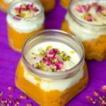 Carrot halwa, dulce de leche and phirni layered in a jar