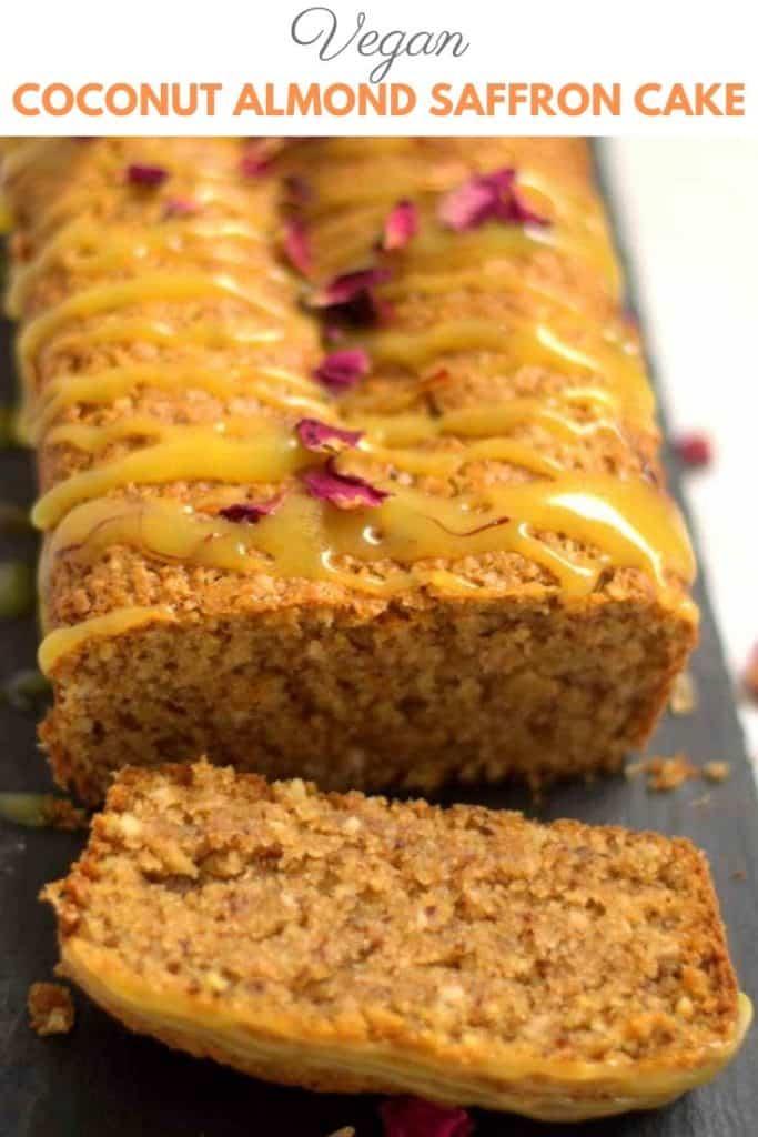Vegan Coconut Almond Saffron Cake