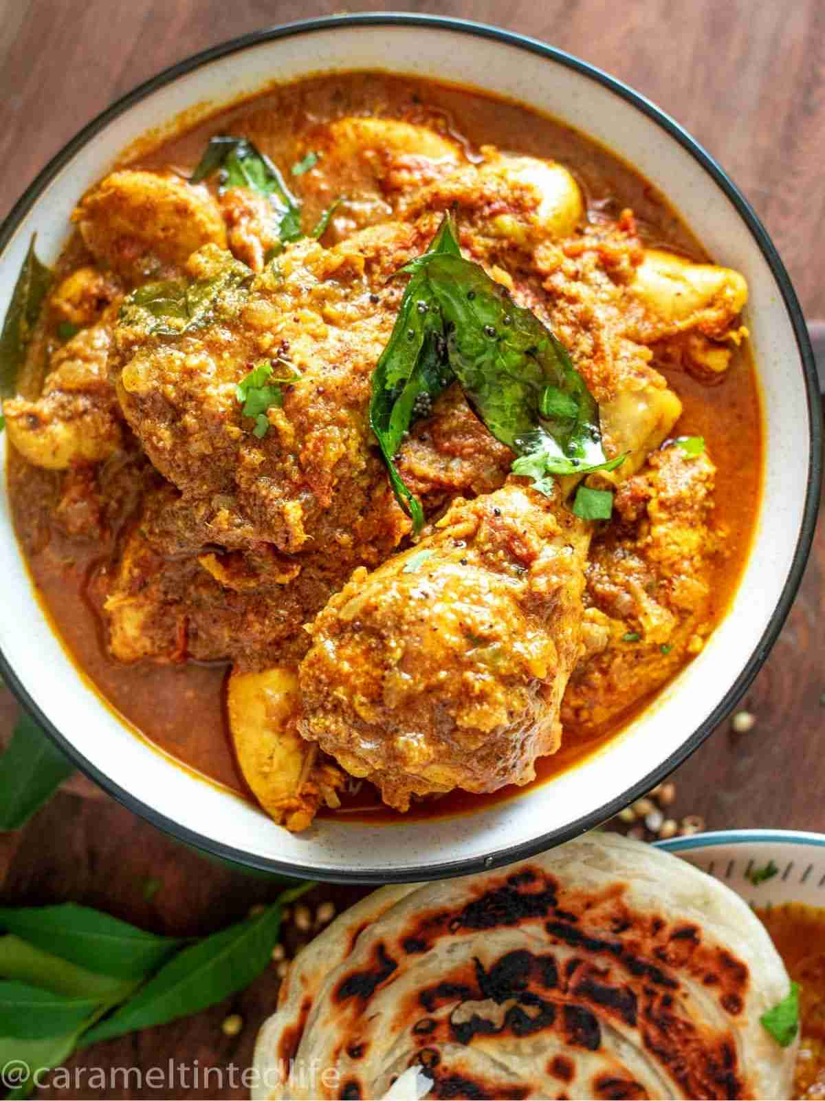 Chettinad chicken curry served in a bowl