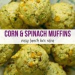 Corn and Spinach Muffins on a tray