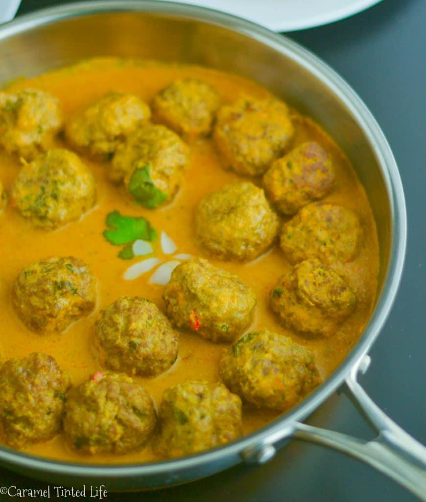 Kofta curry in a pan