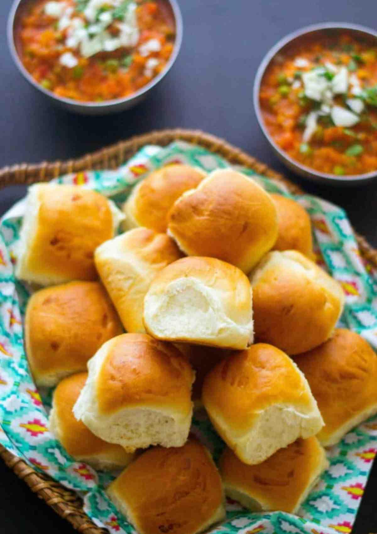 Pav bread served with bhaji