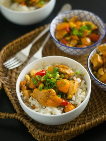 Cashew chicken with jasmine rice 3