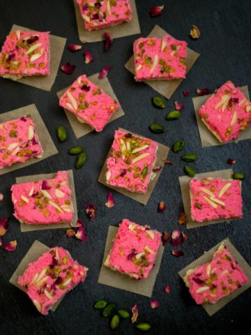 Rose Kalakand on a tray