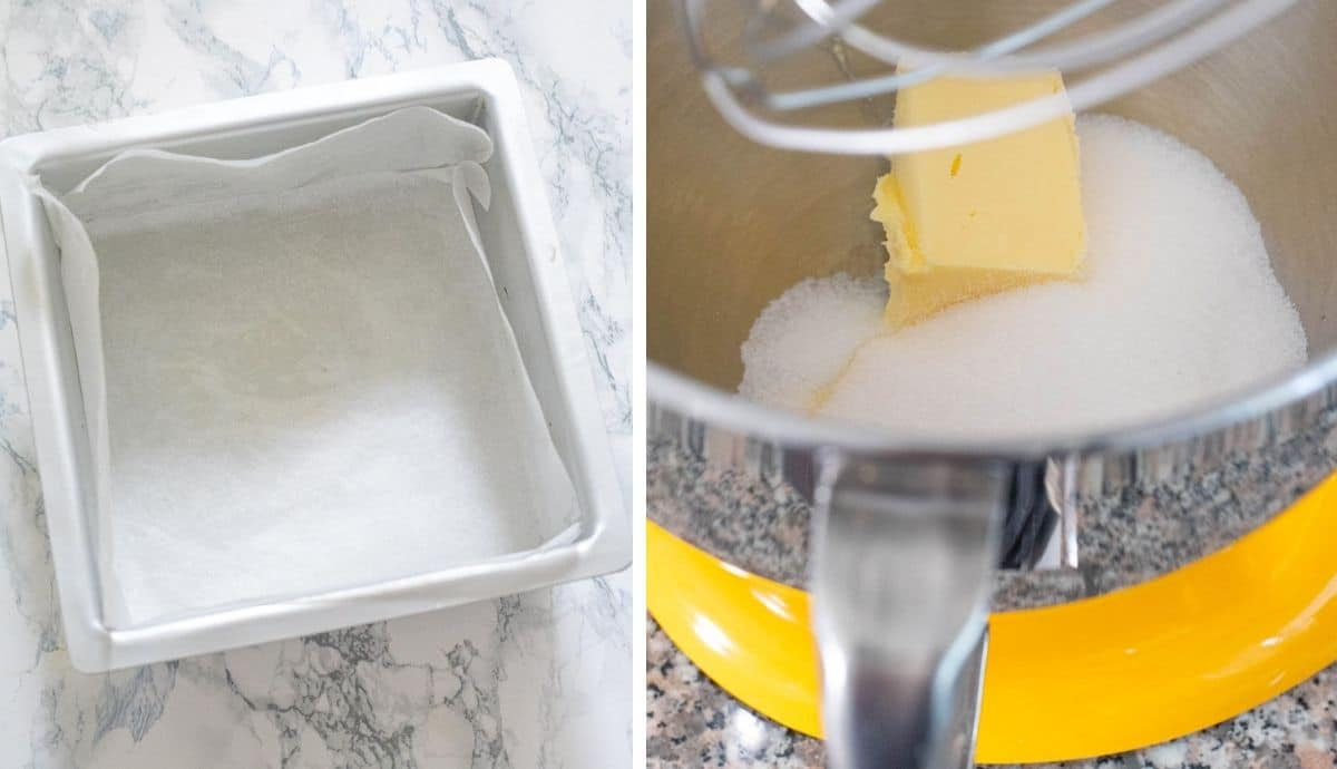 Collage of images showing a lined cake pan and butter and sugar in a stand mixer