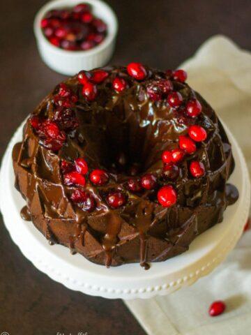Chocolate Cranberry Bundt Cake