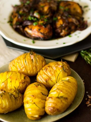 Mediterranean Roast Chicken and Hasselback potatoes