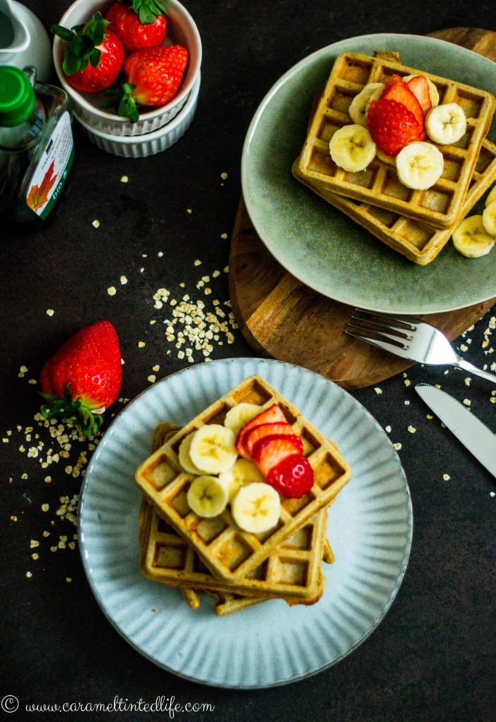 Gluten free Oats and Banana Waffles on a plate