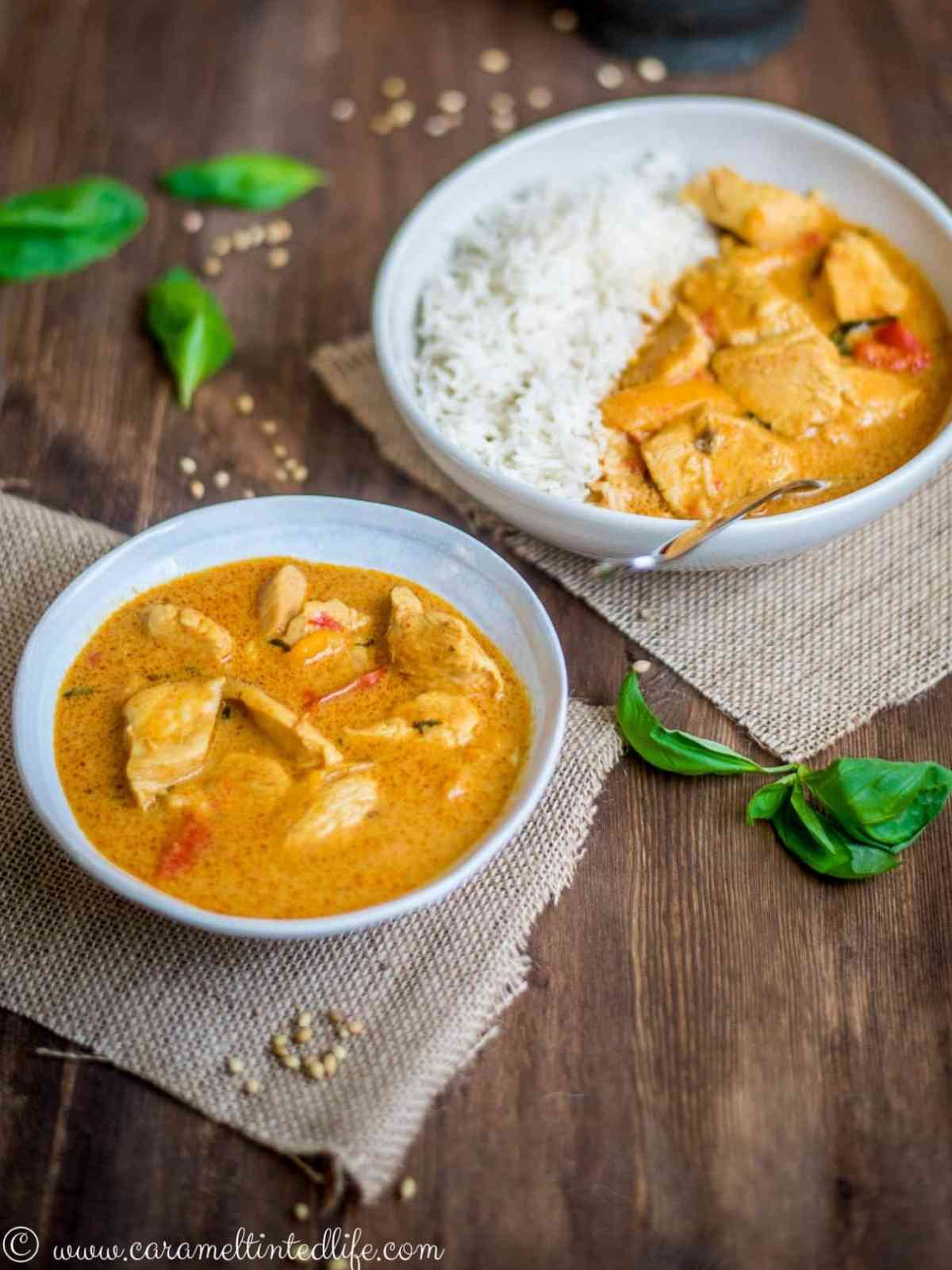 Thai Chicken Curry and Rice served in two bowls