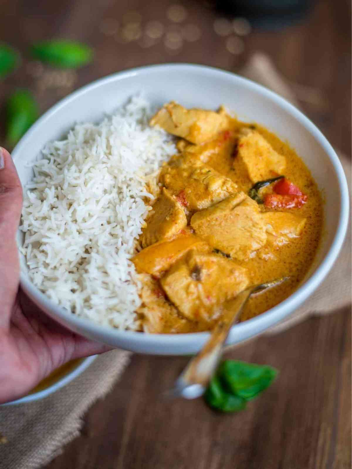 A bowl of Thai chicken curry and rice held in the hand