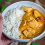 Instant Pot Thai Chicken Curry in a bowland Rice