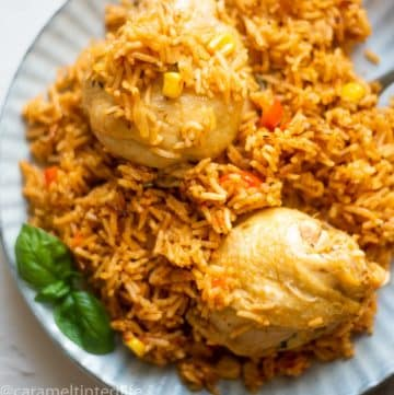 A serving of chicken and rice on a plate