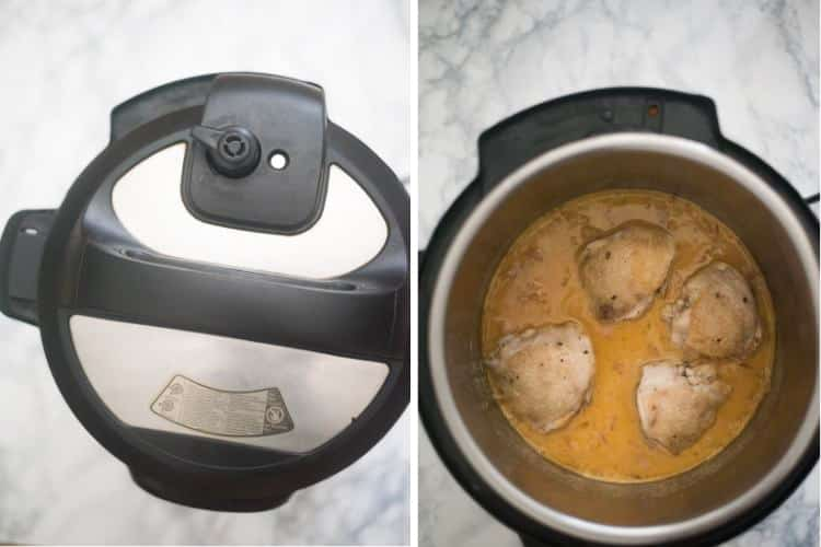 Cooking chicken in honey mustard sauce in the Instant Pot