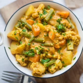 Vegan Korma Curry on a plate