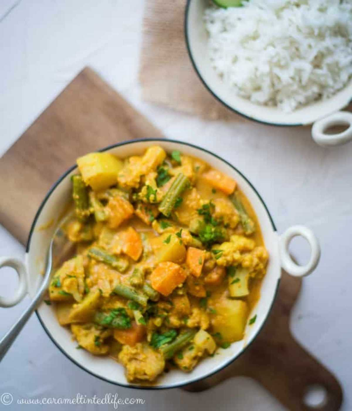 Top view of a bowl of vegetable curry next to a bowl of rice