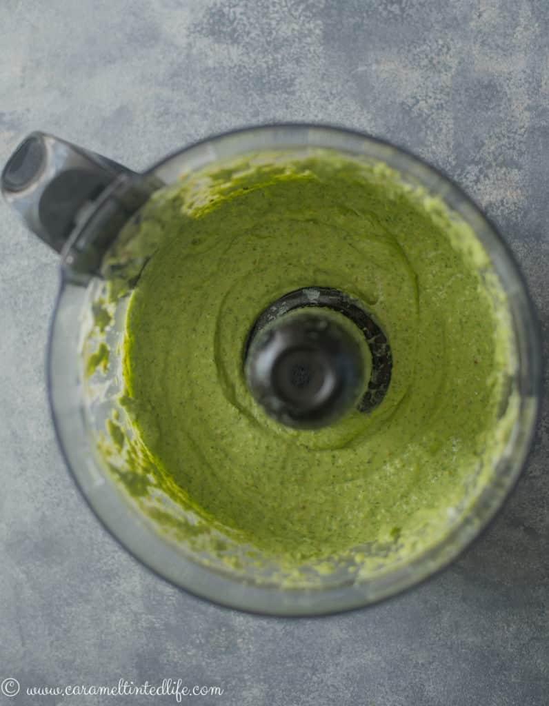 green goddess dressing in a food processor