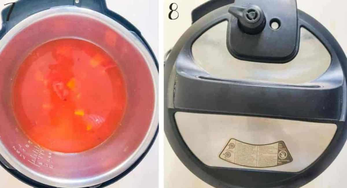 Pressure cooking the ingredients to make lentil soup in the Instant Pot