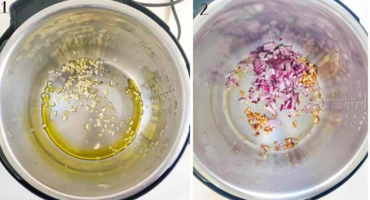 Steps for making lentil soup on the Instant Pot