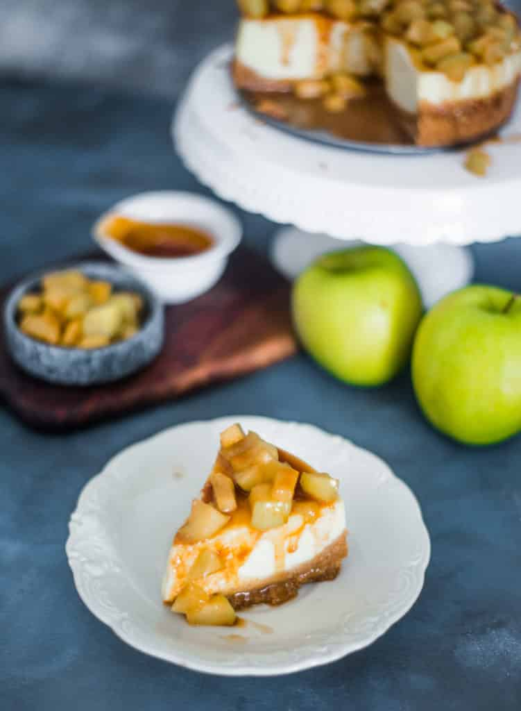 Caramel Apple Cheesecake slice on a plate