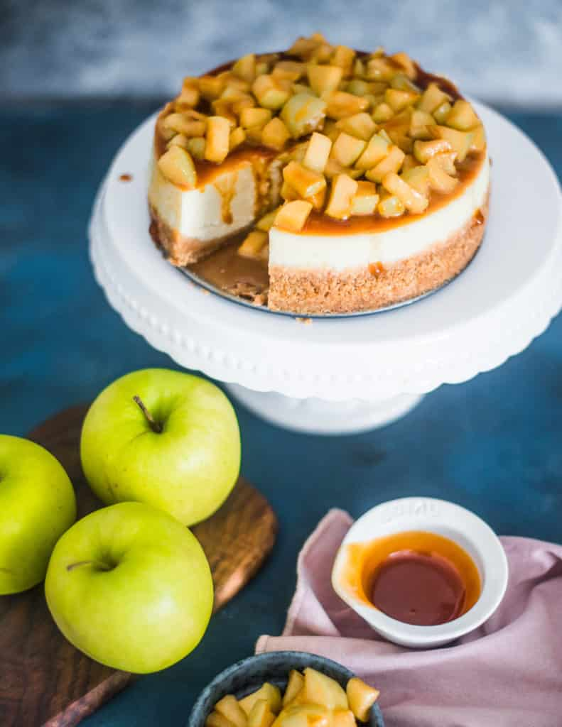 Caramel Apple Cheesecake on a cakestand