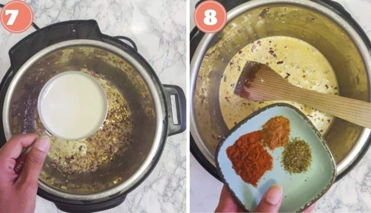 Adding heavy cream and spices to the sauce in the Instant Pot