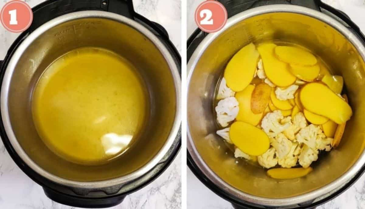 Adding butter to the Instant Pot after cooking potatoes and cauliflower
