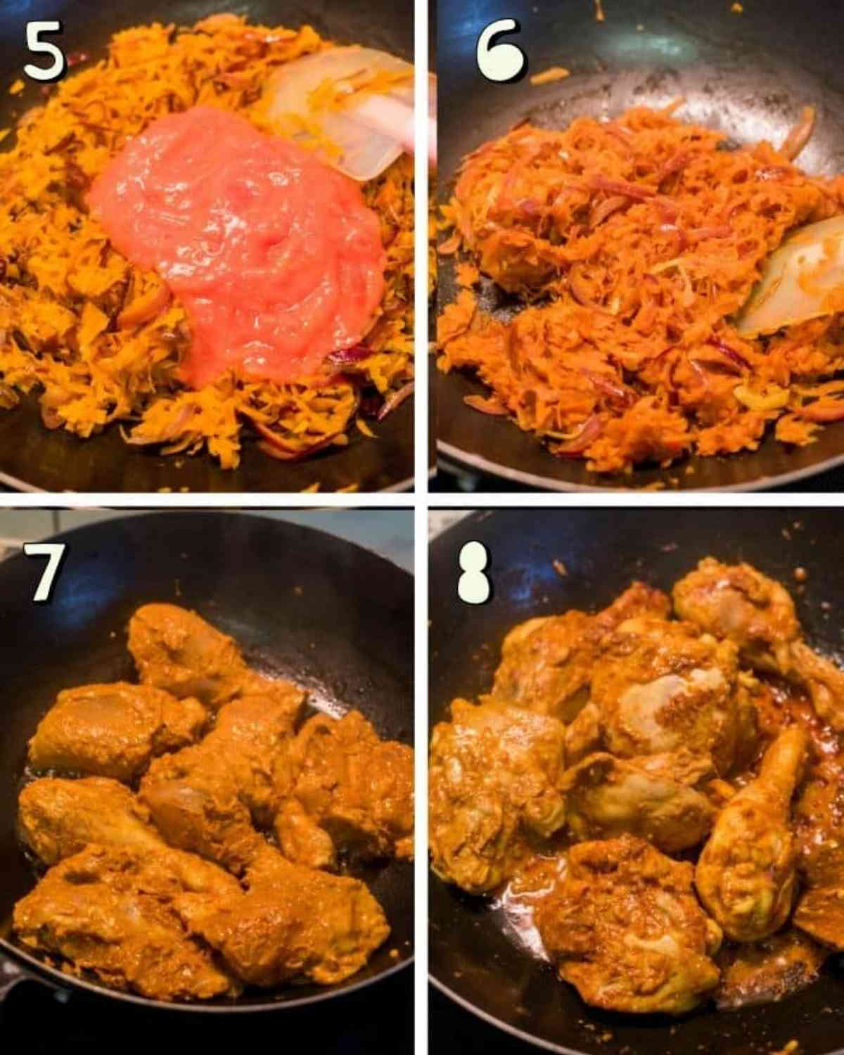 Step by step images for making chicken biryani