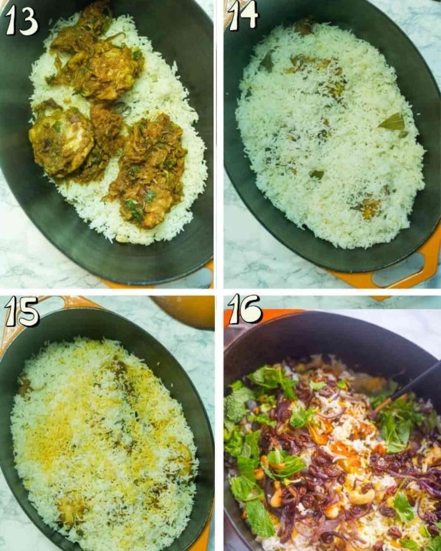 step by step instructions for chicken biryani