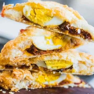Sliced egg puffs, stacked on top of each other