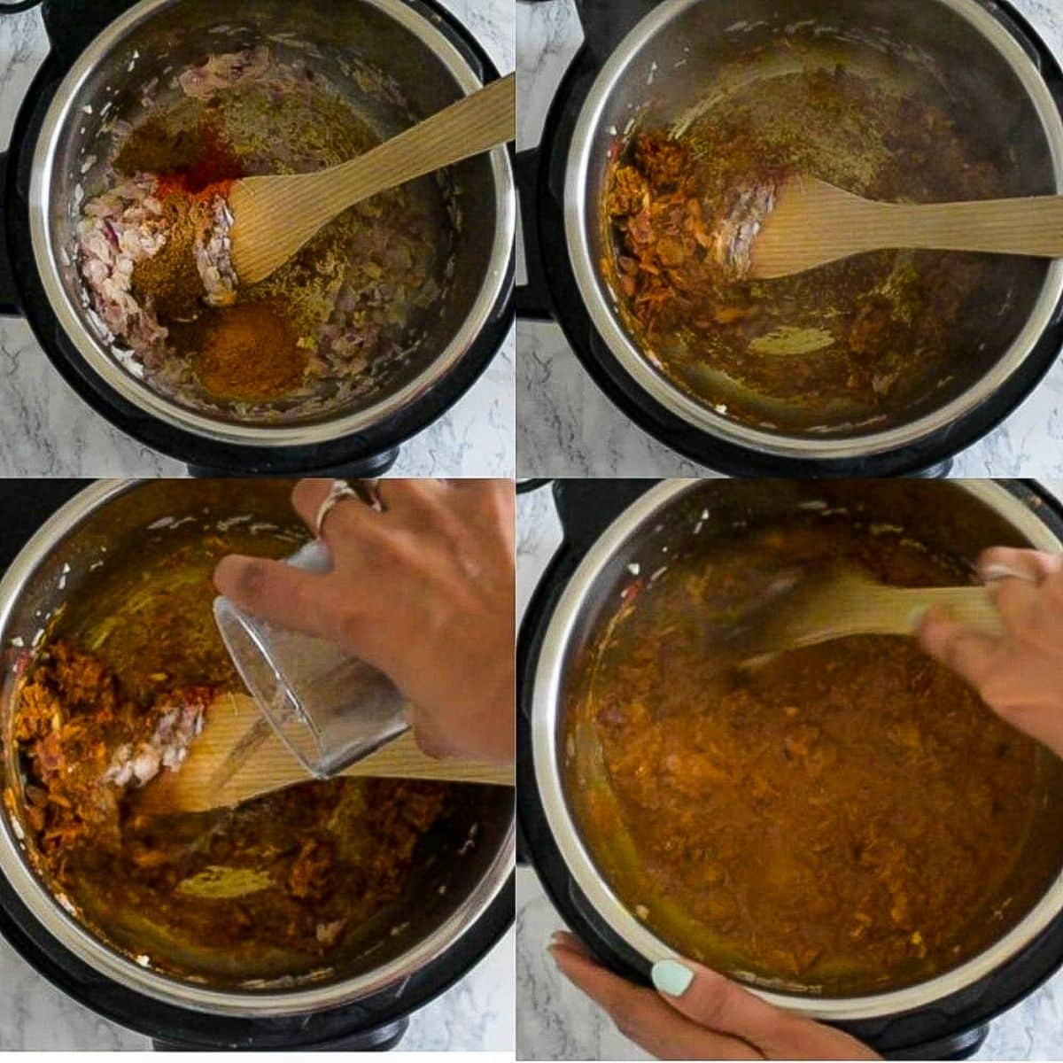 Adding spices and water to the sauce in the Instant Pot