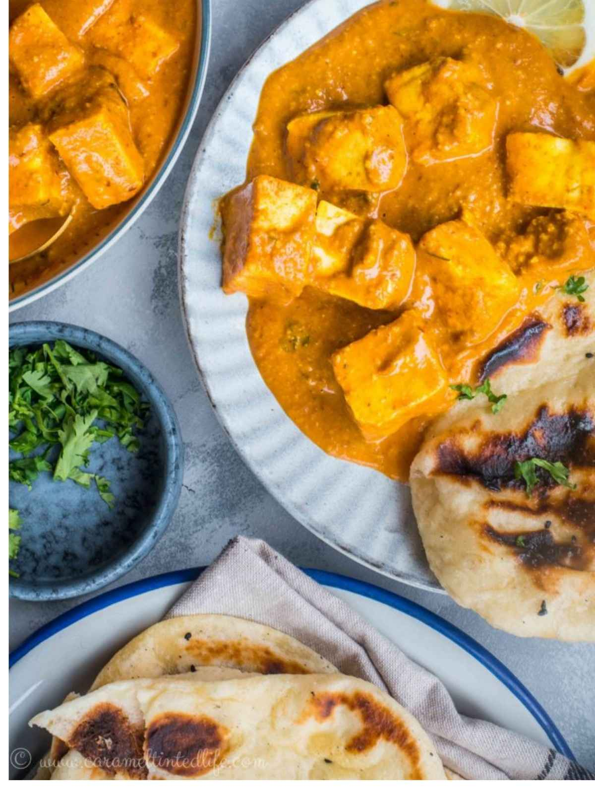 Paneer tikka masala served on a plate