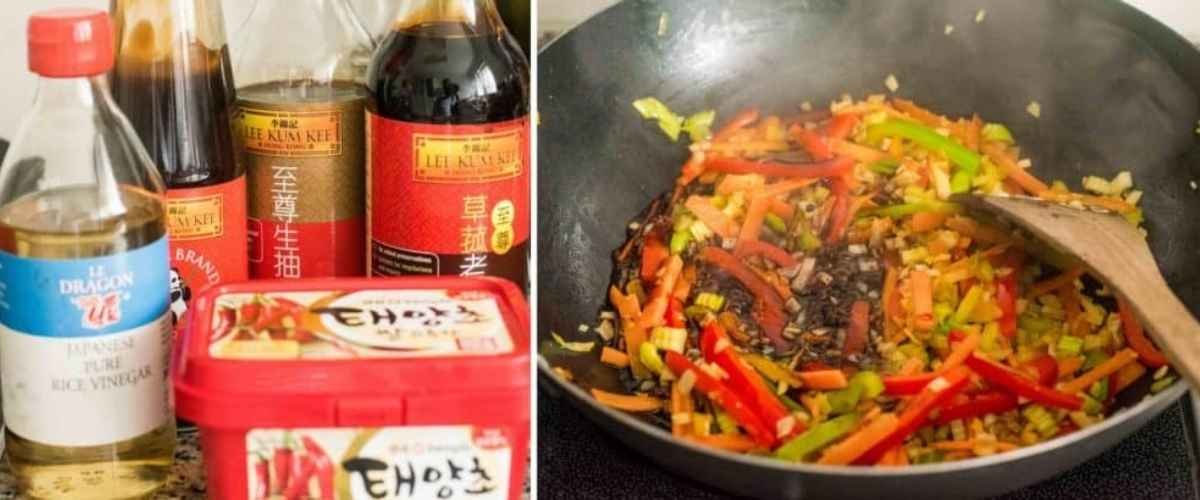 Sauces and stir fried veggies in a wok