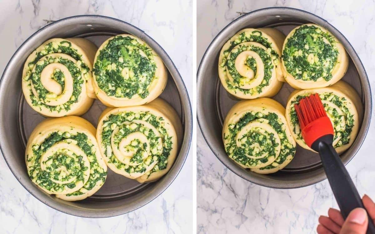 Proofed stuffed bread rolls ready to bake