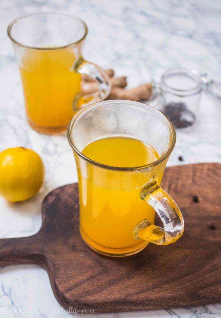 Ginger lemon tea in a cup
