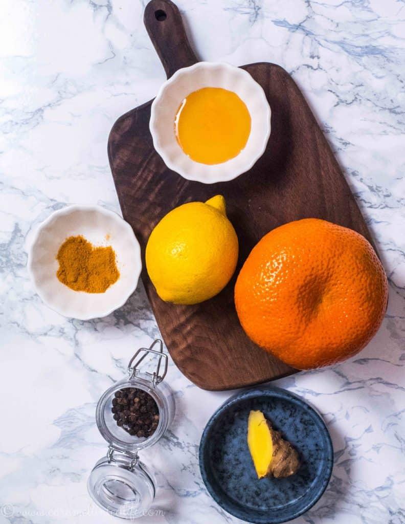 Ingredients for making ginger lemon tea