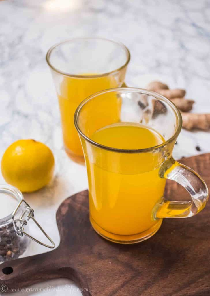 Ginger lemon tea served in a cup