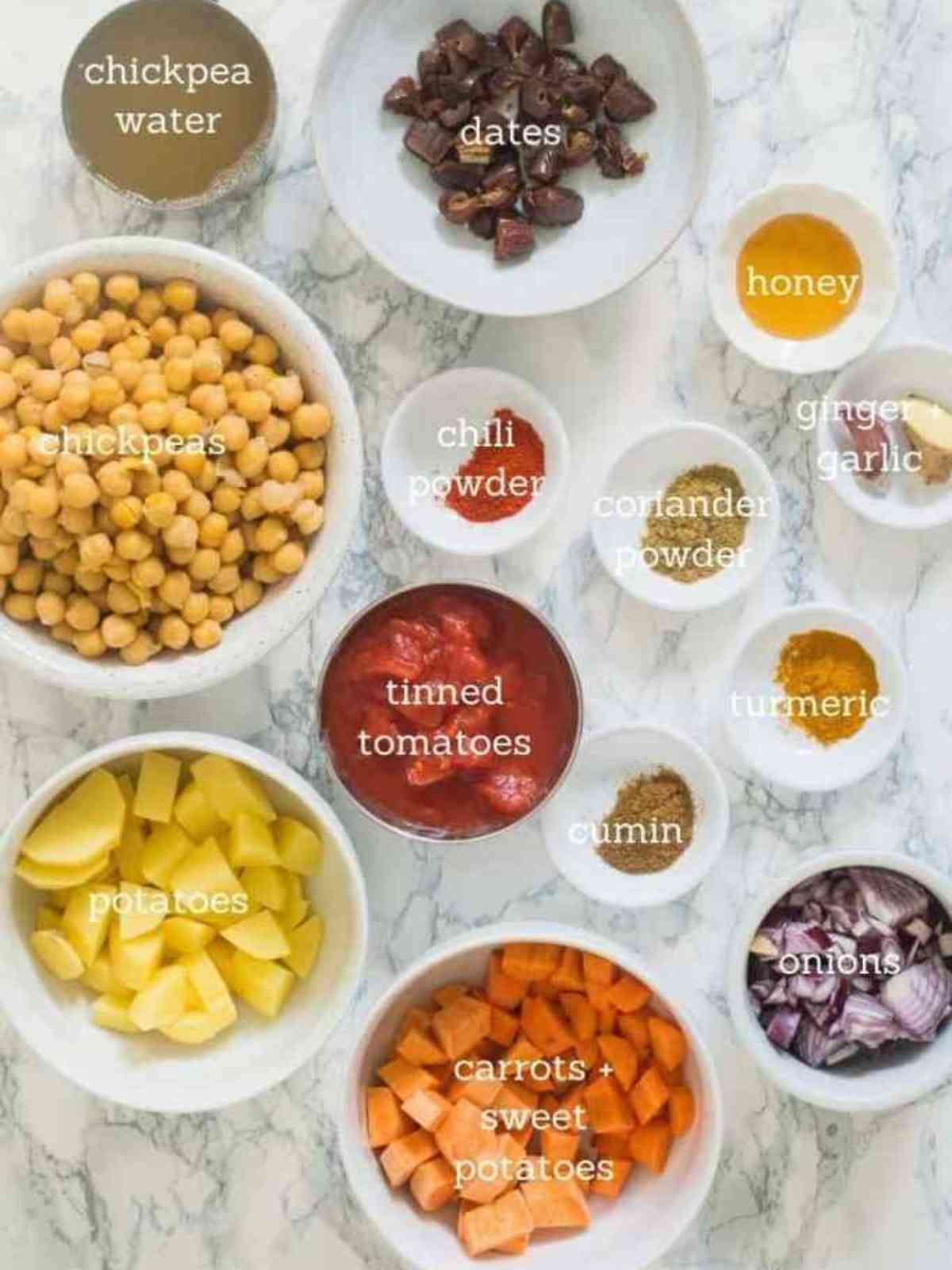 Ingredients used for chickpea tagine