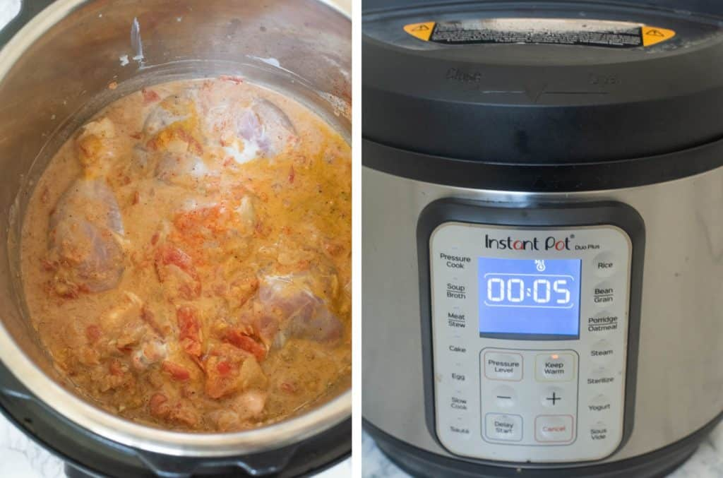 Steps in making chicken curry in the Instant Pot