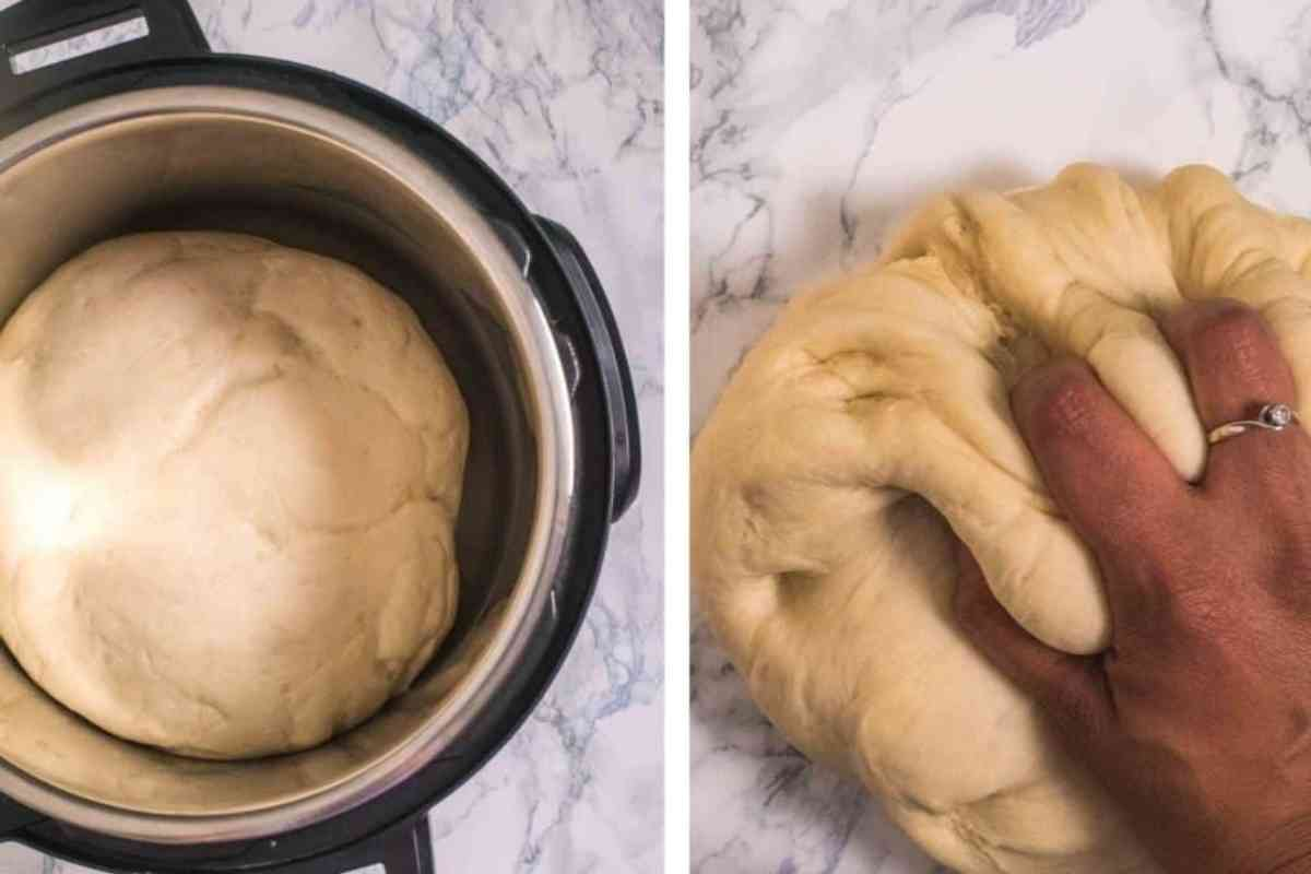 Kneading the proofed dough for pav bread rolls