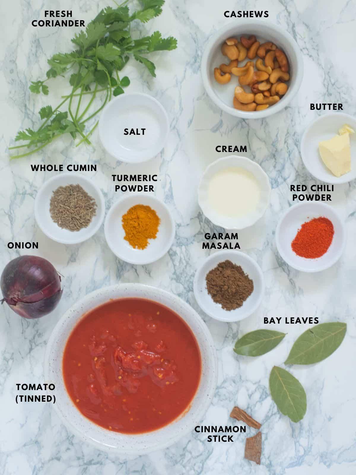 Ingredients for Chicken Tikka Masala sauce