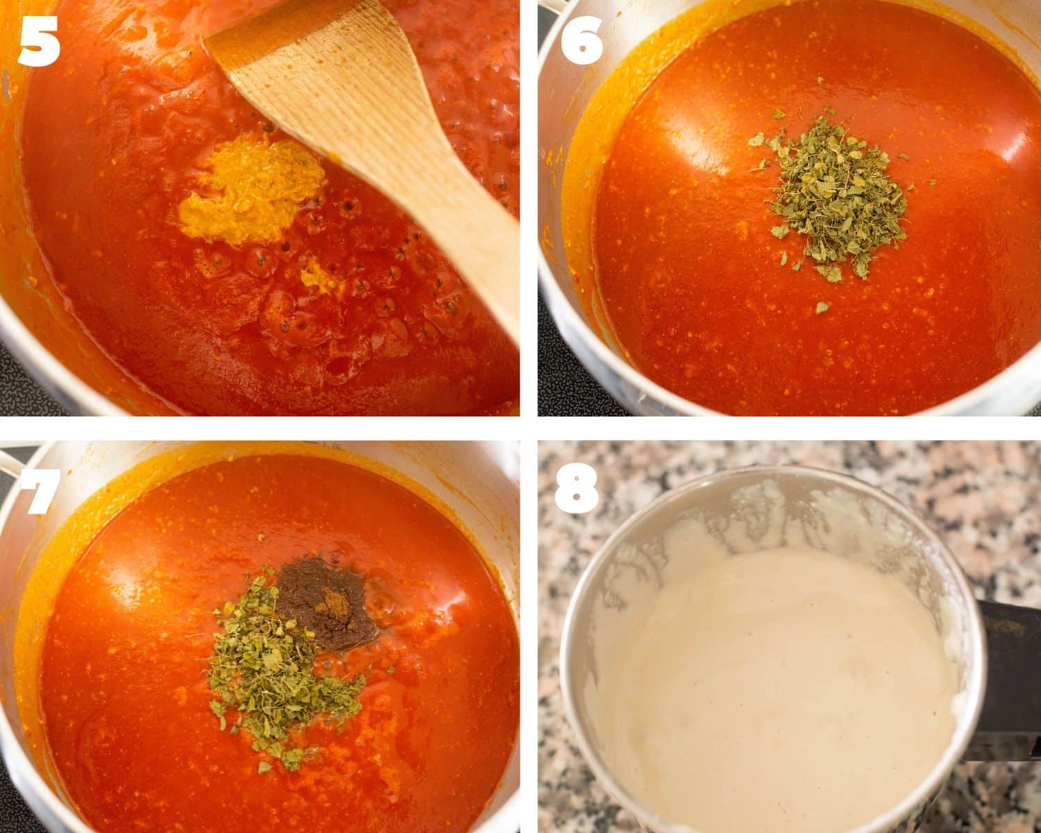 Butter chicken sauce being made on the stovetop