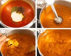 adding grilled chicken to butter chicken sauce