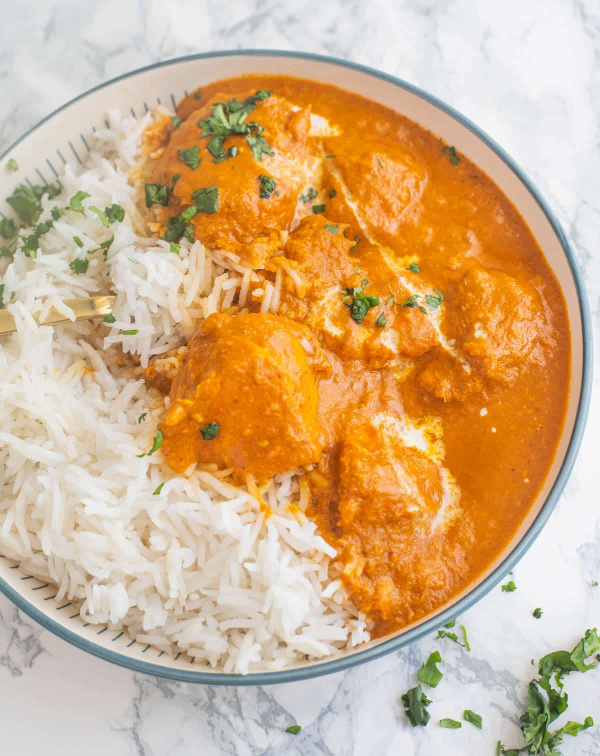 Close-up of chicken tikka masala in a bowl
