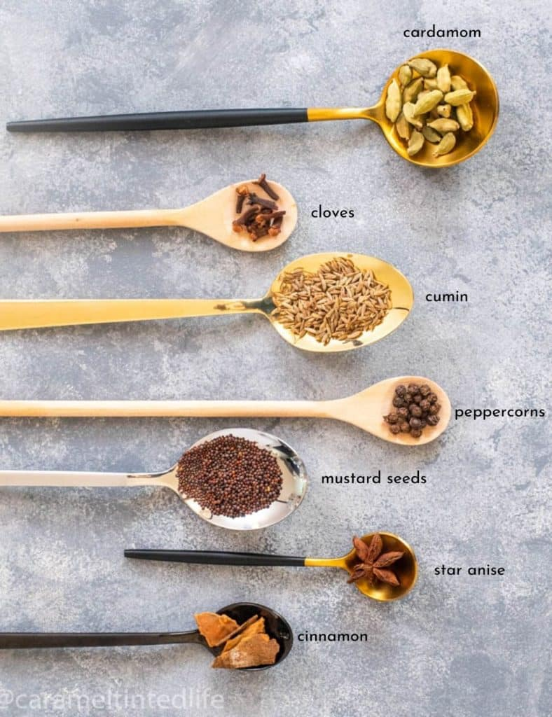 Wholes spices used in Indian Cooking displayed on spoons