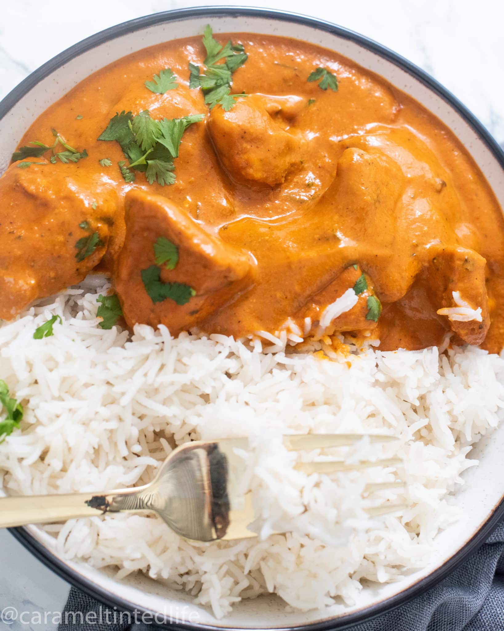 Butter chicken and rice on a plate with a fork
