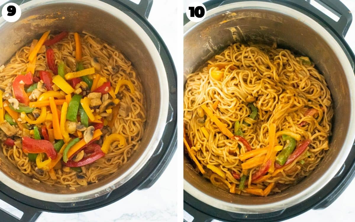 Mixing together vegetables and noodles in the Instant Pot