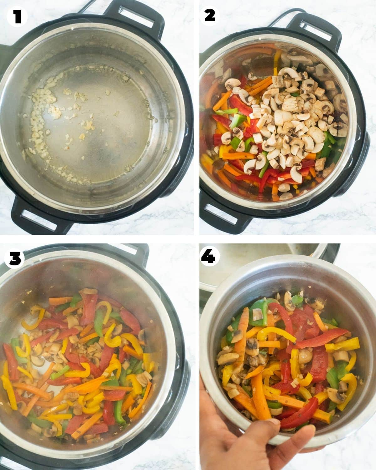 Sauteeing vegetables for peanut noodles in Instant Pot
