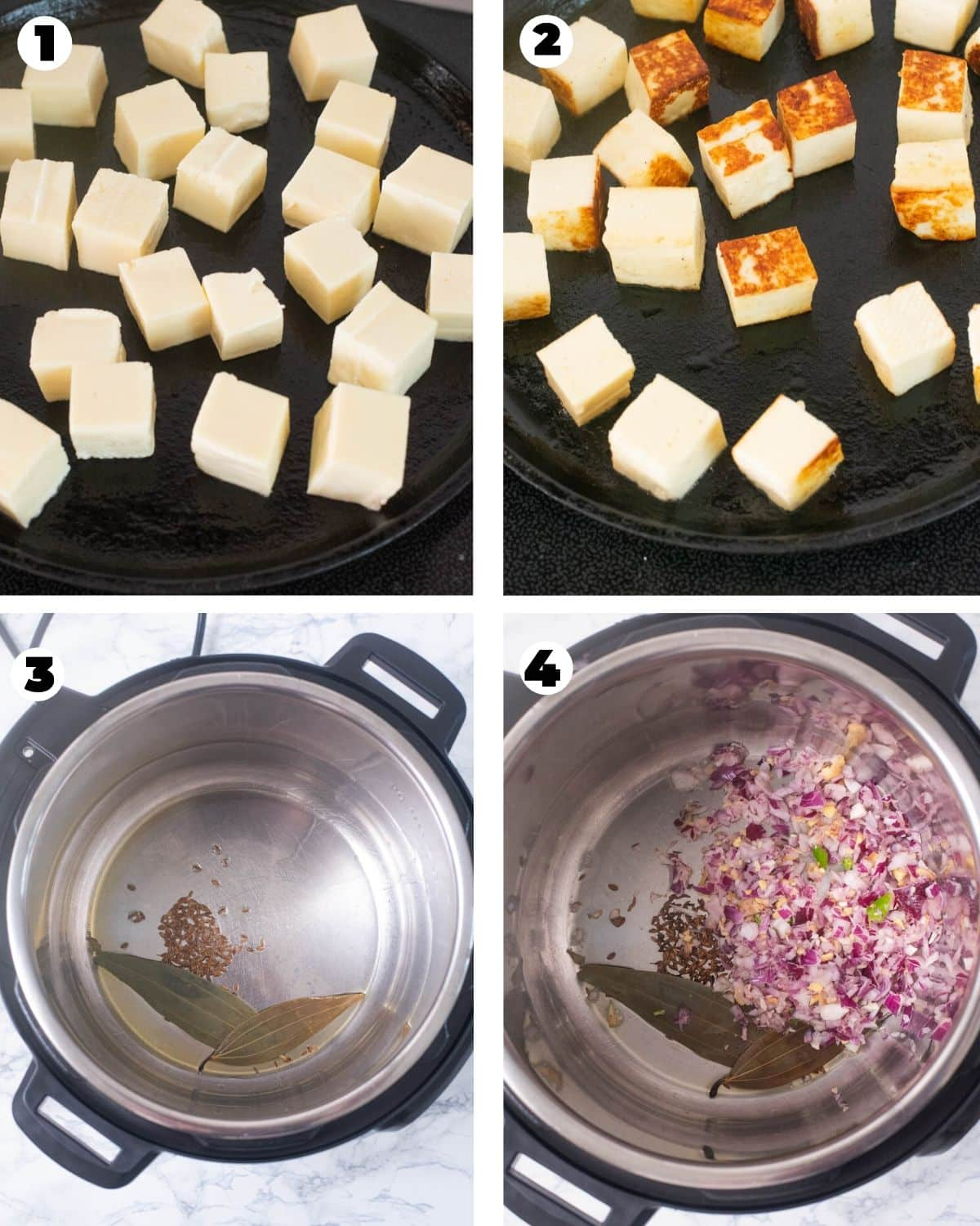 Sauteeing paneer and aromatics for Instant Pot Saag Paneer