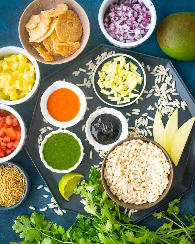 Ingredients used to make bhel puri chaat